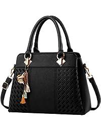 LQZ Women Elegant PU Leather Tote Top Handle Shoulder Bag Handbag With Metal Decor