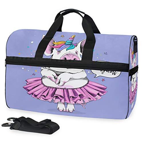 Oarencol - Borsone da viaggio a forma di maialino, ballerina, tutù, unicorno, stella, viola, con scomparto per scarpe, per uomo e donna