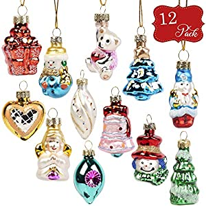 12 Mini-Glaskugeln Christbaumkugeln Ornamente - Perfekt für Baumschmuck, Ideal für Weihnachtsfeiern & Feste
