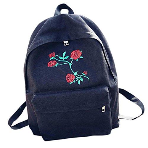 Hiroo Donne Signora Rose ricamo Cartella Robusto semplice Zaino di viaggio Borsa a tracolla Sacchetto di spalla Partito / Shopping / Viaggiare Shoulder Bag (Nero) Nero
