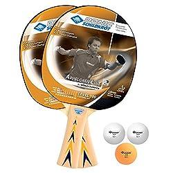 Donic-Schildkröt Tischtennis-Set Level 300 für 2 Spieler (2 Schläger 1,0 mm Schwamm, 3 Bälle, im Blister, gute Freizeitqualität), 788634
