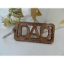 Personalizado Llavero de madera Dad, Cut Out. El Día Del Padre, Cumpleaños, etc.