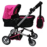 Babyboo Deluxe Doll Pram With Swiveling Wheels & Adjustable Handle And Free Carriage Bag 9651 B