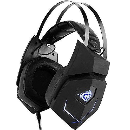PC Gaming Headset USB Wired Kopfhörer 3D mit Stereo-Sound 3,5mm und Mikrofon, 7.1Surround Sound Lautstärkeregler für PS4, xboxone, Tablet, Handy (Schwarz)