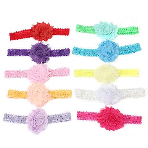 Pinzhi-10 Pièces Bébés Filles bandeau en mousseline de soie Fleur Noeud dans les cheveux