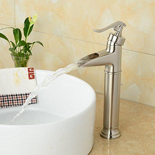 BLYC- Retrò moderno europeo spazzolato nichel cascata monoforo monocomando lavabo