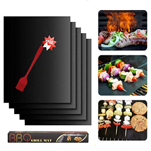 BBQ Grillmatte, Grillmatten für gasgrill, Wiederverwendbar Antihaft Grill-und Backmatte, Pflegeleicht und Wiederverwendbar, Perfekt für Fleisch, Fisch und Gemüse, 5er Set und 1 Grillbürste (40 * 33cm)