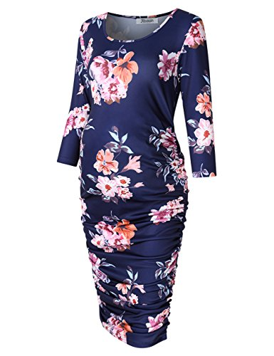 KoJooin Maternity Dress Round Neck Ruched Bodycon pregnancy dresses (S, Navy blue )
