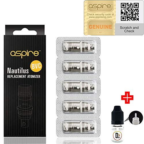 [✅100% ORIGINALPRODUKT✅] 5er Pack Verdampferköpfe Aspire Nautilus BVC 1.6 ohm (7-12W) coils + 1 FREI eliquid Leere Flasche 5ml DansLesVapes [OHNE NIKOTIN, OHNE Tabak] (asp-NAUT-16)