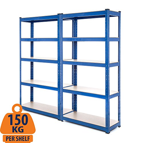 Racking-Lösungen 2x Bays 1.5m 5-Tier-Garage Regale Rack-Dienstprogramm Heavy Duty Industrial Steel & MDF Boltless Rack-Regal - Massive 1,750 kg Kapazität 150 cm H 75 cm B 30 cm D