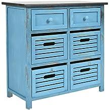 Credenza stile country cottage, look shabby consumato. In colore blu, con 6 cassetti e ripiano superiore nero.