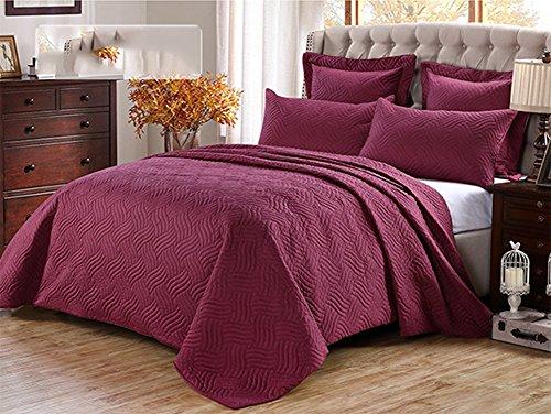 mixinni® Europäisch Stil Bettüberwurf waschbar Einfarbig Geometrische Muster 100% Baumwolle Tagesdecke (Enthält keine Kissenbezüge) Weinrot 245x260 cm (King-size-decke Waffel)