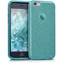 kwmobile Funda para Apple iPhone 6 / 6S - Case para móvil en TPU silicona - Cover trasero Diseño Purpurina uni en azul