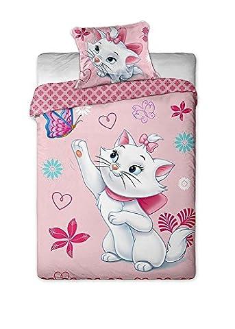Jerry Fabrics JF0134 Bettwäscheset Marie Cat Schmetterling, 1x Bettdecke und 1x Kissenhülle, 140 x 200/70 x 90