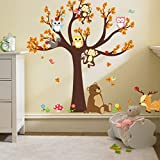 FACAI Wandtattoo Großer Baum with Owl Affe Bär Elch Fröhliche Tiere Baum Kinderzimmer Deko DIY Wand- Aufkleber für Baumschule / Kinderzimmer / Wohnzimmer(Braun)