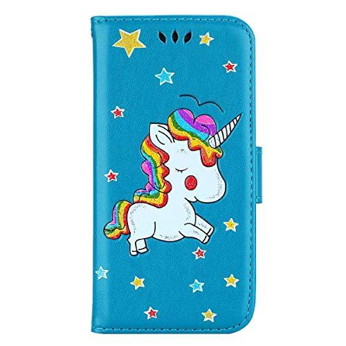 Funda Galaxy S7, Bear Village® Flip Funda de Cuero con Flexible Carcasa Interna de TPU y Ranuras de Tarjeta, Carcasa para Samsung Galaxy S7, Azul