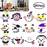 Kürbis Dekoration Schaum Aufkleber für Halloween und Party, 24 Sets in 2 Packs