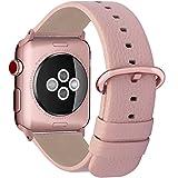 Fullmosa Apple Watch Armband in 15 Farben, Uhrenarmband 38mm/42mm Ersatz Apple Watch Lederarmband mit Edelstahlschließe für iwatch Series 1 Series 2 Series 3,Hellrosa+Roségold Schnalle 38mm