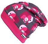Wollhuhn ÖKO Leichte Beanie-Mütze Elefanten ELLI pink/grau, für Mädchen, 28943829A, Größe M: KU 51/53 (ca 3-5 Jahre)