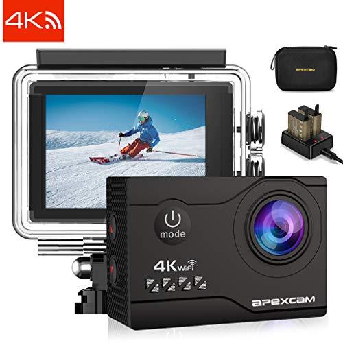 Apexcam Cámara deportiva M80 Air: La cámara se actualizó a 20MP píxeles.8 Caracteristicas:4K 20MP:Toma fotos de ultra alta definición y capturar cada momento maravilloso. Impermeable hasta 131ft (40 m): equipado con una resistente cubierta imperme...