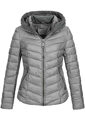 Violet Fashion Damen Winterjacke gesteppt, Kontraststreifen am Kragen & Kapuze, großer Zipper, grau Grau