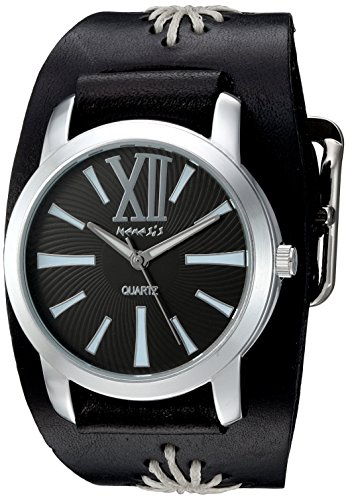 Nemesis Women's 'Roman Series' Quartz Stainless Steel and Leather Automatic Watch, Color:Black (Model: BF065KW)