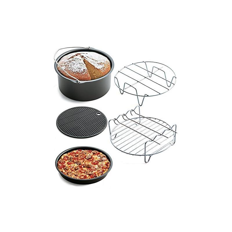 Ecent 5tlg Friteuse Set Airfryer Zubehr Kuchenform Pizzatablett Silikon Pad Grill 8