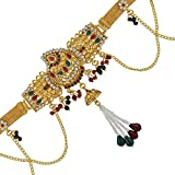 #8: DzineTrendz Brass Gold plated, Wedding design, Kundan Meenakari, Cross Jhalar pattern with Pearl tassled, Stylish Traditional, Waist belt, Belly chain, kamar bandh Traditional Women Bridal jewellery latest