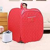 Box Sauna riscaldatore a infrarossi - 80 × 80 × 100 cm Sauna a Vapore Portatile 1000 W, Regolazione della Temperatura a 1-9 Marce Controllo elettronico, con Telecomando Senza Fili,Red