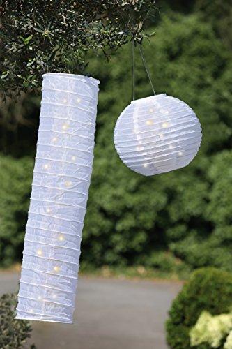 Gilde Nylon lampione solare LED bianco, 8luci, con 1x AAA Batterie Ricaricabili, Outdoor 44686altezza 90cm Ø 20cm