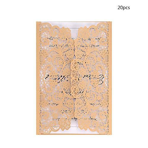 Sen-Sen 20pcs Hochzeit Geburtstagsfeiern Einladungen Card Kit mit D118 Inner Papers - Rice Gold