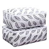7Lucky Faltbare Aufbewahrungstasche Kleidung Decke Quilt Schrank Pullover Organizer-Faltbare Aufbewahrungsbox aus PEVA Tragetasche für Bettdecken (B)