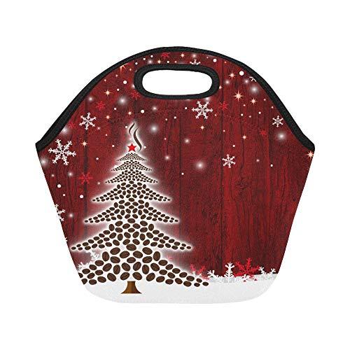 Isolierte Neopren-Lunchtasche mit Weihnachtsbaum-Design von Kaffeebohnen für Backgrou, große...