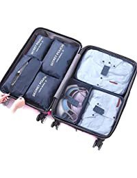 Travel Organiser,DoGeek Travel Essentials Bag 7pcs Packing Cubes for Travel Waterproof Polyester Storage Luggage Travel Storage Bags Clothes Suitcase