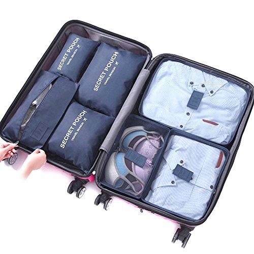 DoGeek Kleidertaschen Packing Cubes Satz von 7 Reise Kleidertaschen Verpackungswürfel organizer Ideal für Seesäcke, Handgepäck und Rucksäcke- Navy blau