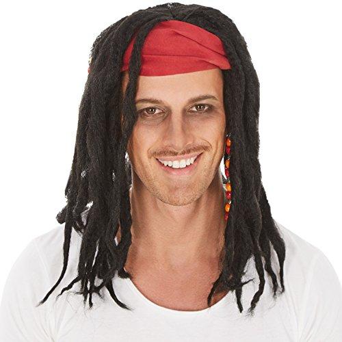Perücke lange schwarze Rasta-Zöpfe| Strähnen mit Perlen- Verzierungen | Haarband | Pirat Piratenbraut (Tina Kostüme Turner Ideen)