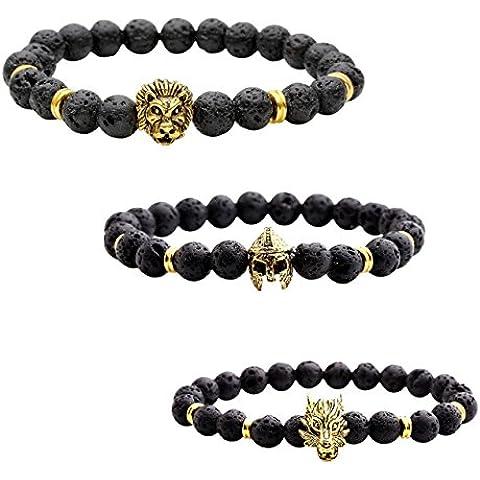 Jovivi 3Bracciali in pietra lavica, unisex, 8mm,  con testa di leone + elmo di Sparta + testa di lupo, terapia energetica Reiki, Buddha - Buddha Bead