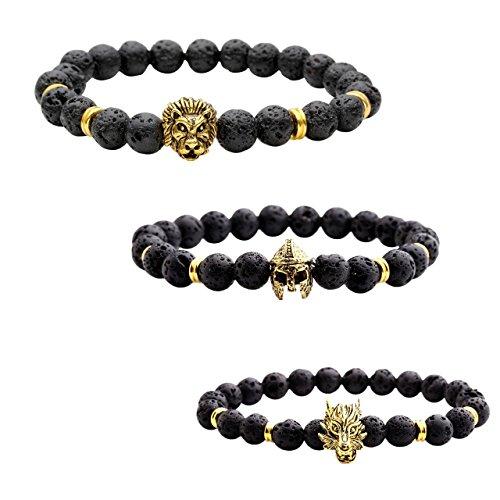 JOVIVI 3x Lava-Armband Damen Herren Reiki-Energietherapie Armreif 8mm Lava Beads Buddha-Armband,Löwe-Kopf+Sparta-Helm+Wolf-Kopf