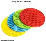 HelpCuisine Salvamanteles /Agarrador de ollas/ salvamanteles para ollas /Salvamanteles redondos/reposacucharas, utensilios cocina, reposacucharas de silicona alimentaria 100%, Juego de 4 manteles: azul, rojo, amarillo y verde