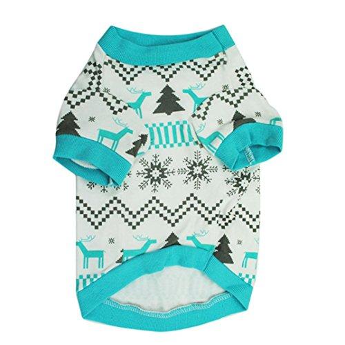 LHWY Winter Warmpant Pullover T-Shirt Hirsch Baumwolle Hund Kleidung Weihnachten Haustier Kostüme Größe L,M,S Blau Neutral (S)