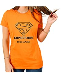 Calledelregalo Regalo Para Madres Personalizable: Camiseta SuperMadre Personalizada con el Nombre o Nombres