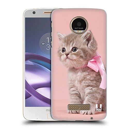 Hülle + Folie Hauchdünne Polycarbonat Snap auf Passend für Motorola Moto Z/Z DROID/xt1650(Harte Rückseite) Pink Cute Cat/Kitty/Kätzchen mit Schleife