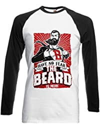 The Beard Is Here Have No Fear Superhero Novelty Black/White Femme Homme Men Women Unisex Manches Longues Long Sleeve Baseball T Shirt