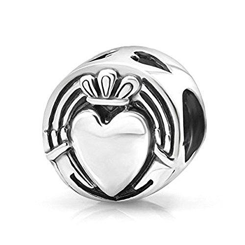 Hände und Herzen Irish Claddagh Sterling Silber Charm Bead–Passt Für Europäische Charm-Armbänder