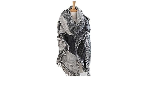 1e6f3a575e7 TOOGOO(R) Survetement Femmes plaid echarpe frangee Femme laine Chale  Cachemire  Amazon.fr  Vêtements et accessoires