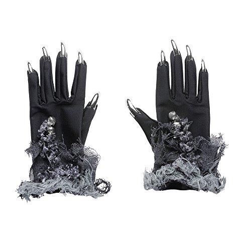 Nägel Halloween Katze Kostüm - Widmann 7883V - Hexenhandschuhe mit Fingernägeln