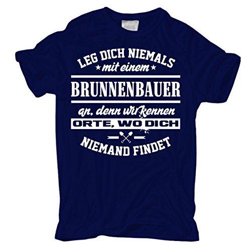 Männer und Herren T-Shirt Leg dich niemals mit einem BRUNNENBAUER an körperbetont dunkelblau