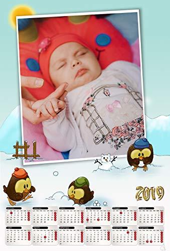 Personalisierter Kalender 2019 von 1 Seite mit 1 Foto 30x45 komplett mit Bären und Wandhaken.