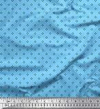 Soimoi Blau Viskose Chiffon Stoff kleines Motiv Hemdenstoff