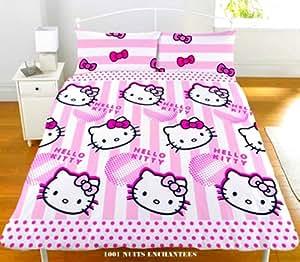 Parure housse de couette Linge de lit Double 2 Personnes Hello Kitty 200 X 200